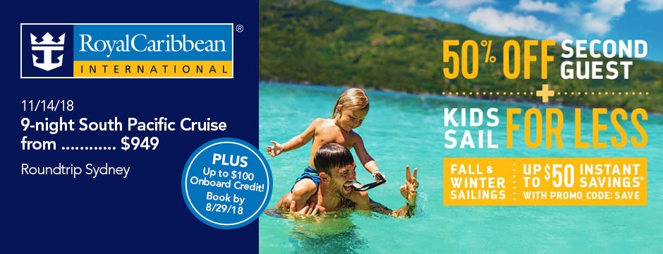 Royal Caribbean: 50% off Second Guest, Kids sail for less!