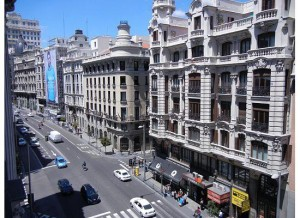 balcony view from Hotel de las Letras Madrid, Spain