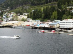 View of seaplane landing in Ketchikan from our balcony