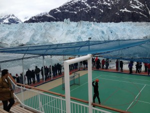 Why not? Basketball game surrounded by glaciers