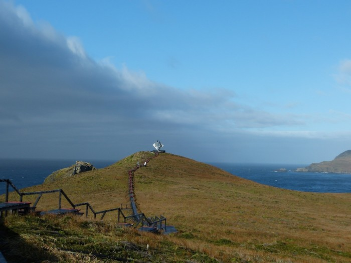 Monument on Cape Horn—Drake's passage where the Atlantic and Pacific Oceans meet